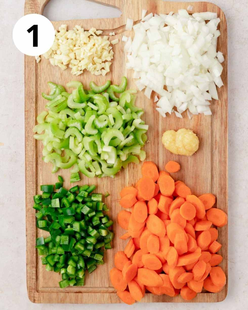 aromatics chopped for chicken soup