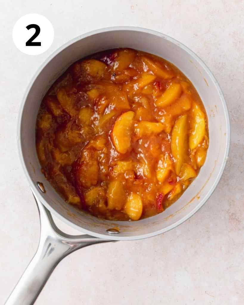 spiced peach cake filling cooked down