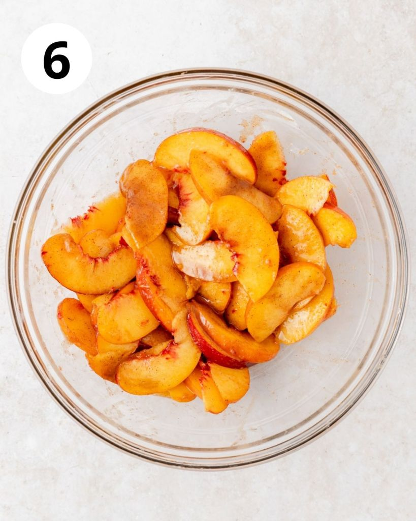 peaches tossed in brown sugar and cinnamon