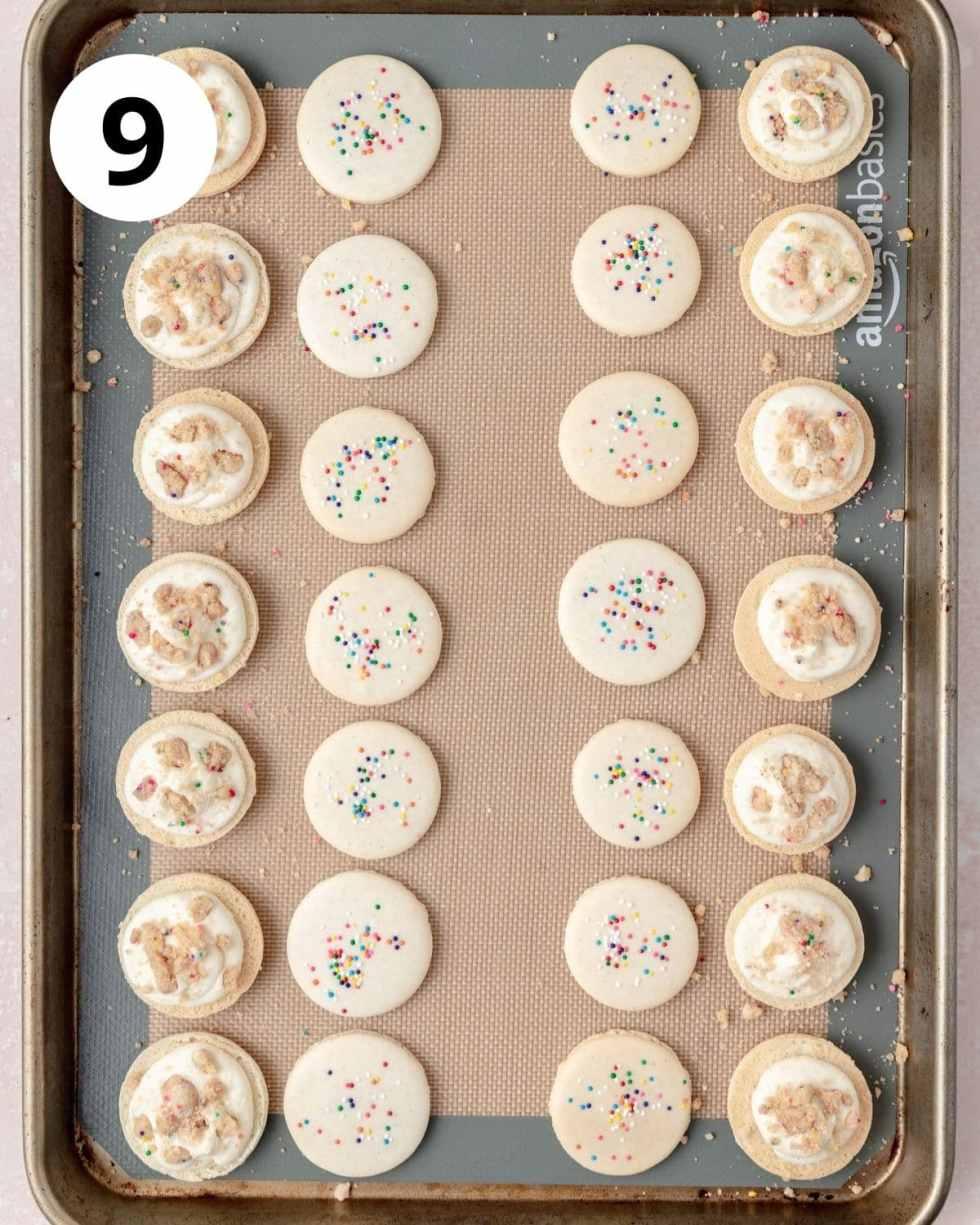 birthday cake macarons before assembling