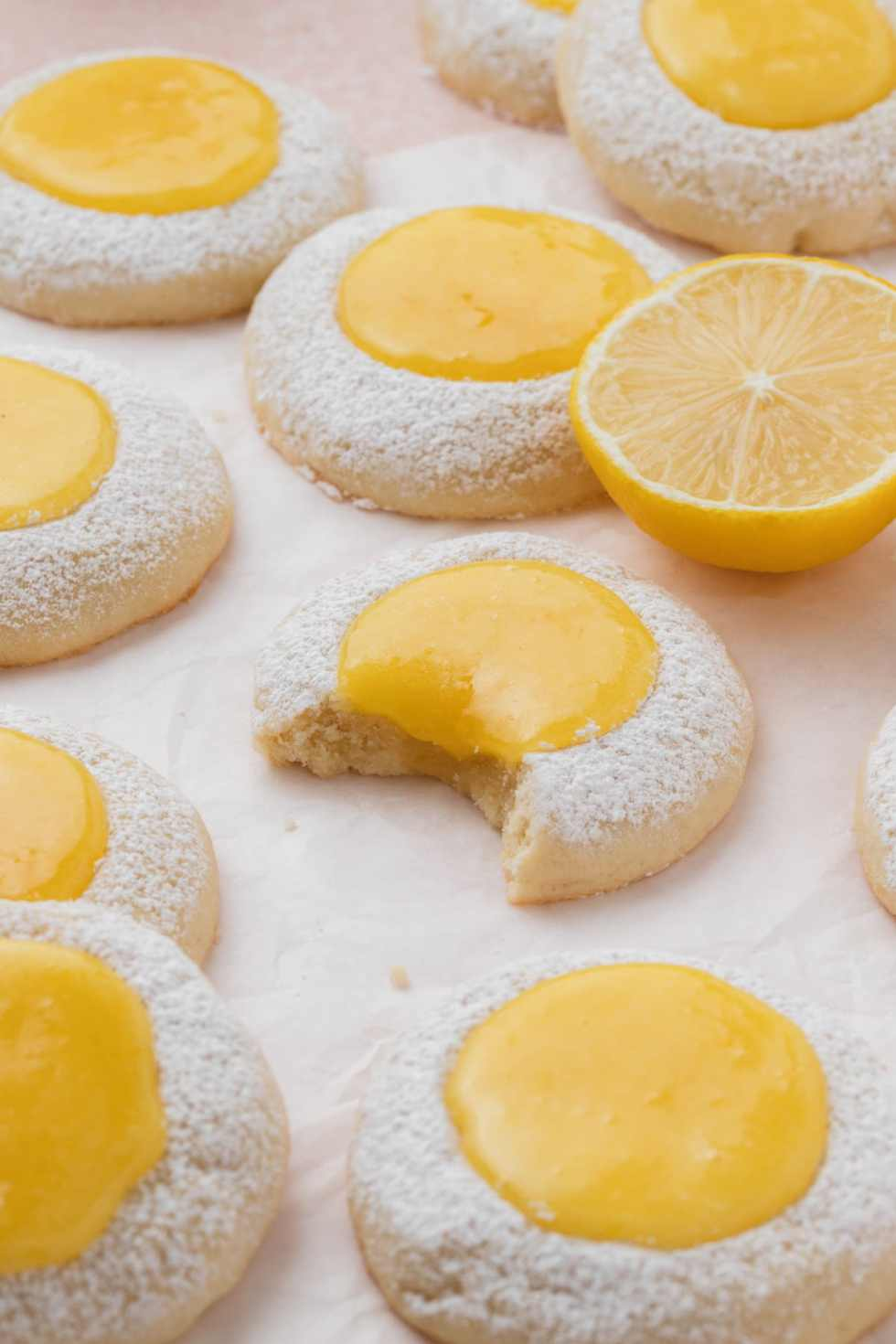 butter cookies with lemon curd and powdered sugar
