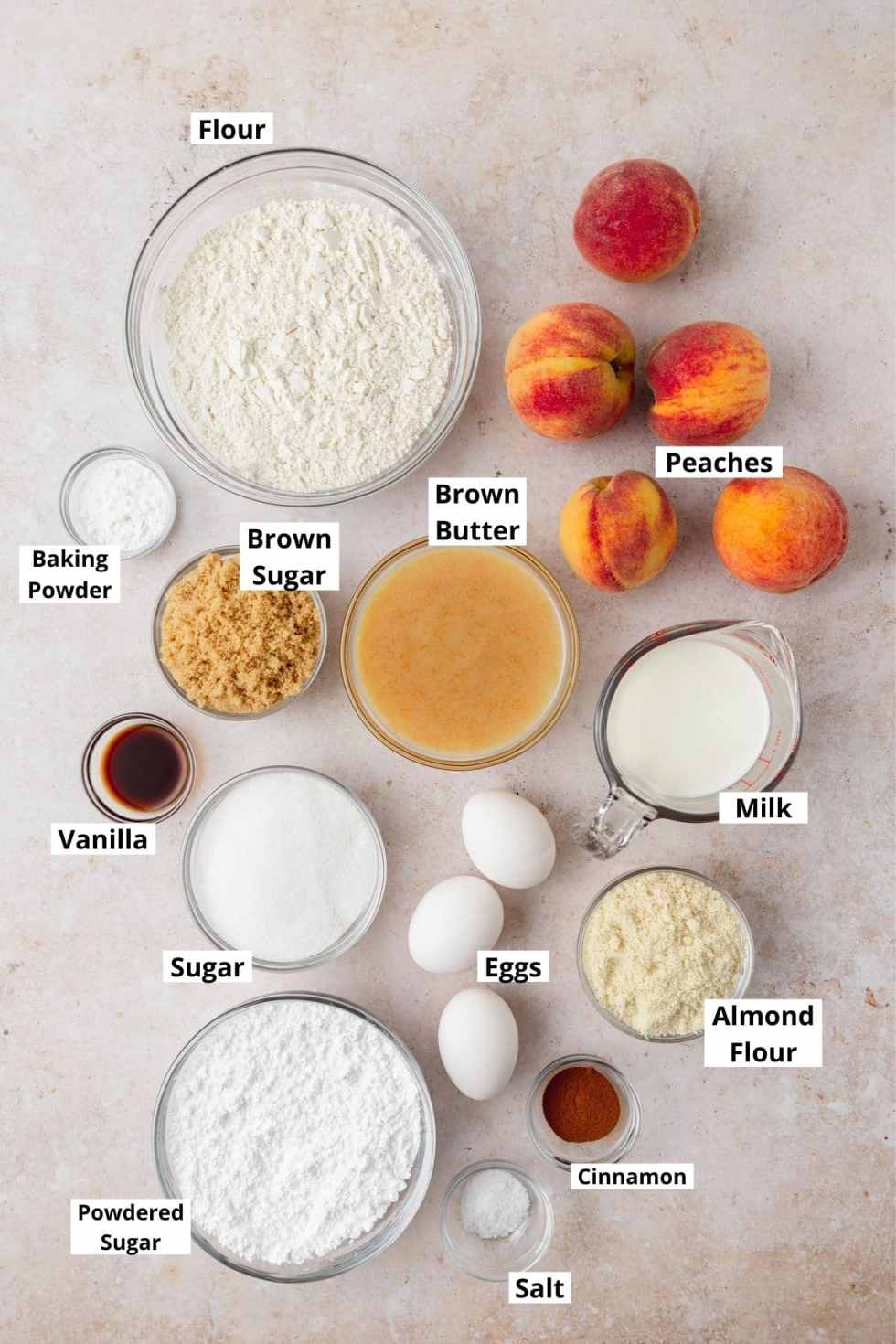 peach layer cake labeled ingredients