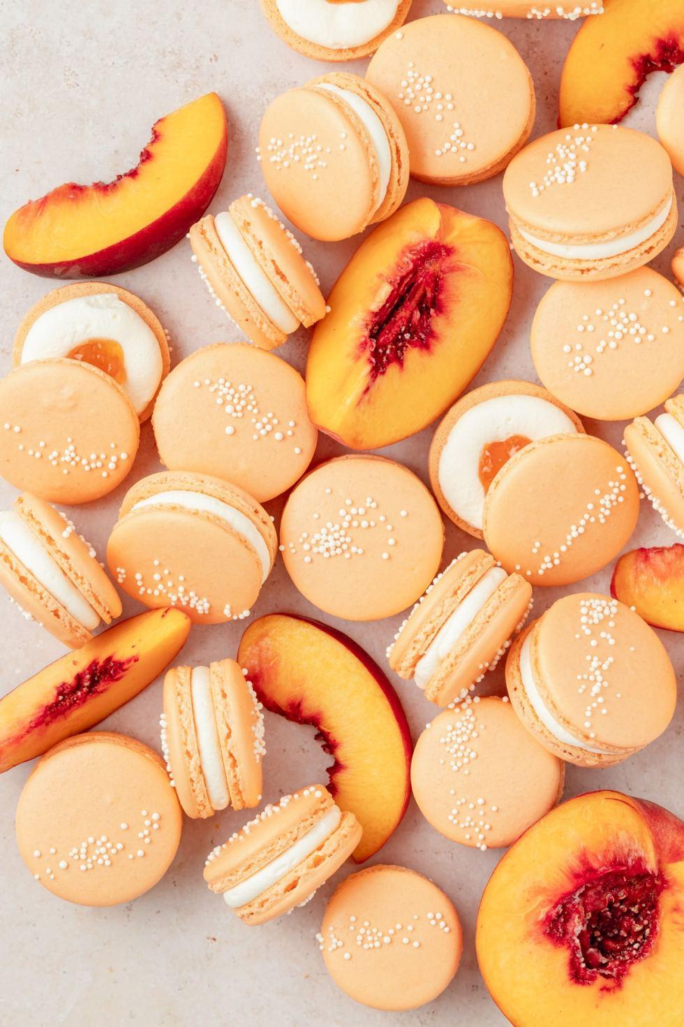 peach macarons with fresh peaches