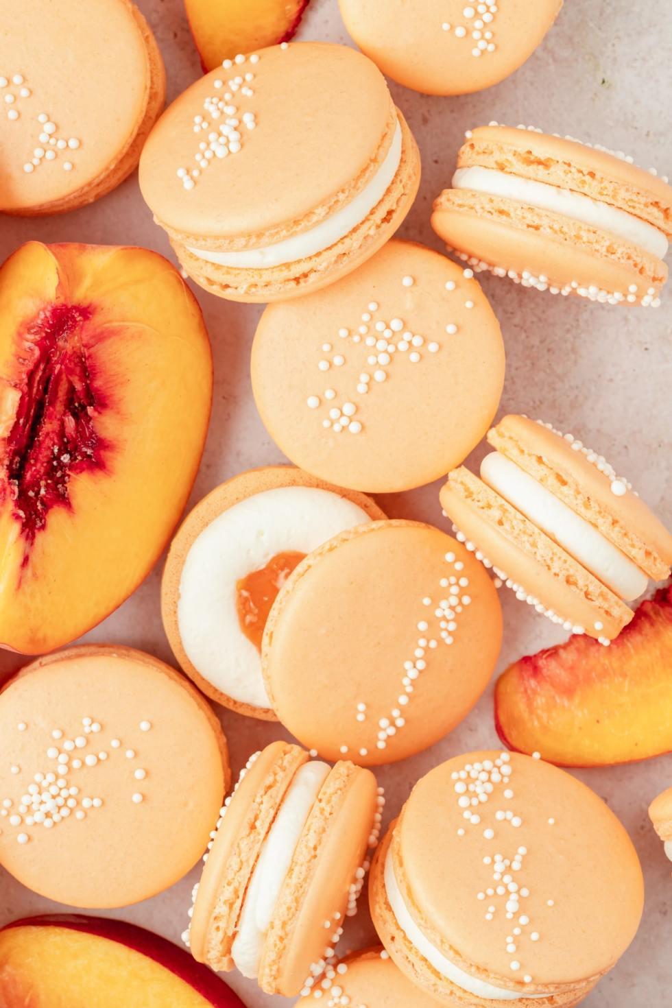 peach macarons with nonpareils
