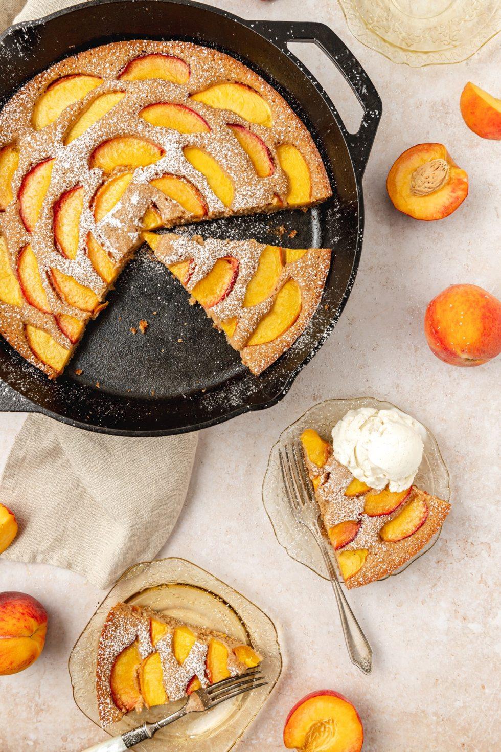 brown butter peach cast iron skillet cake