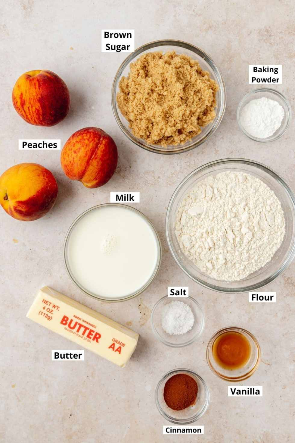 labeled shot of peach skillet cake ingredients