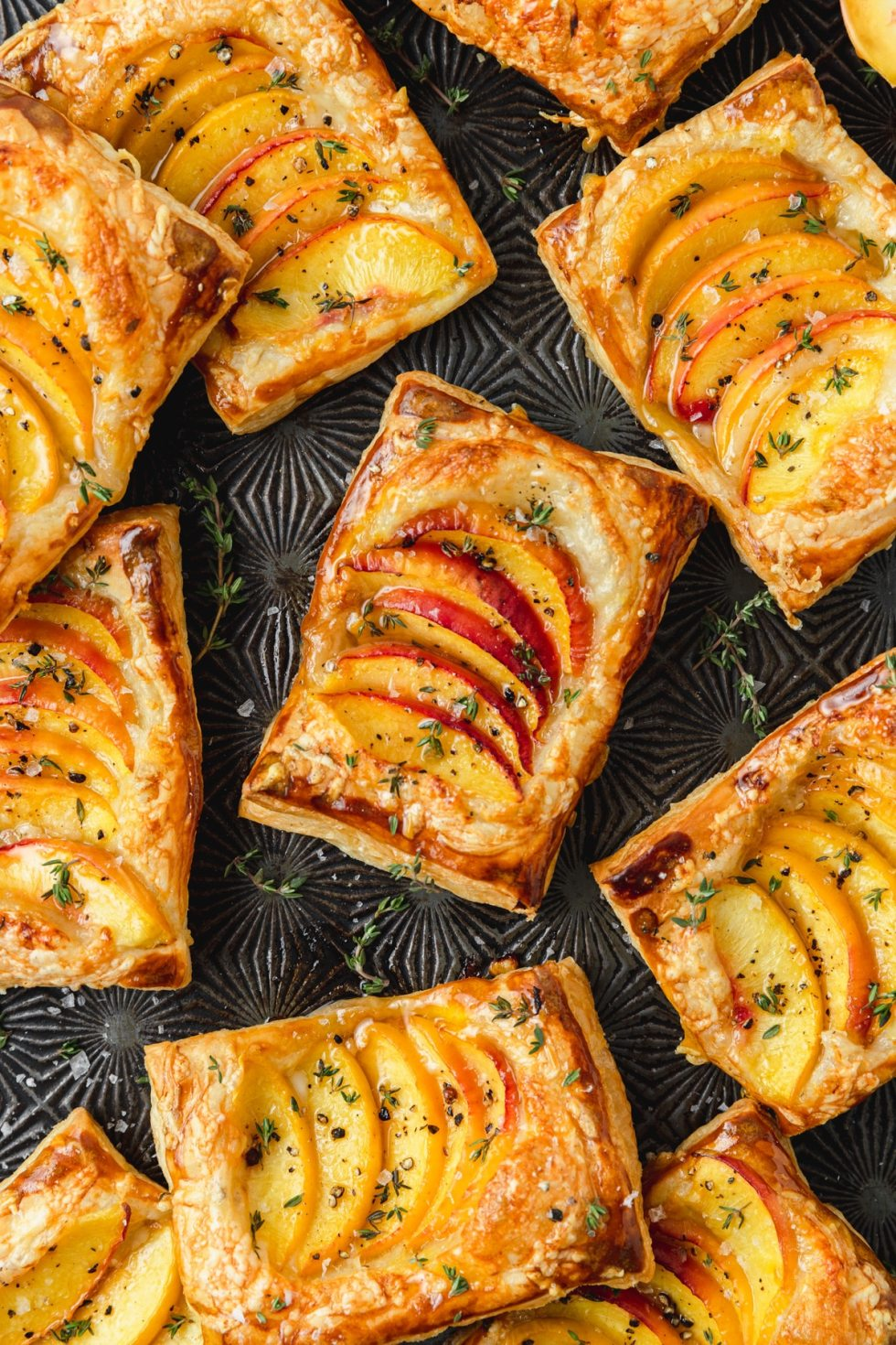 puff pastry peach and thyme tarts