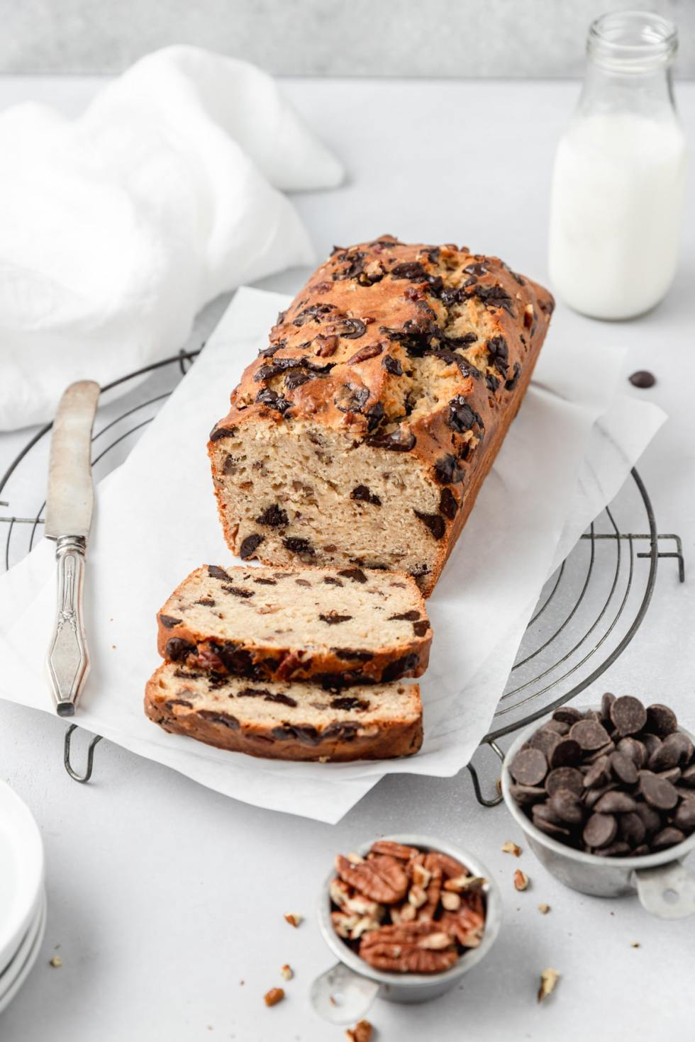 sourdough banana bread with chocolate chips and pecans
