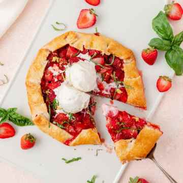 close up shot of strawberry basil galette