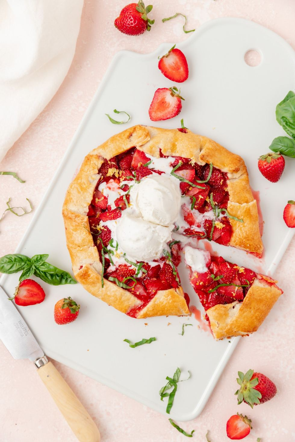 strawberry basil galette with ice cream on top