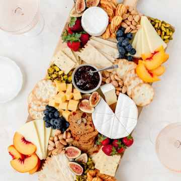 square image of summer cheeseboard