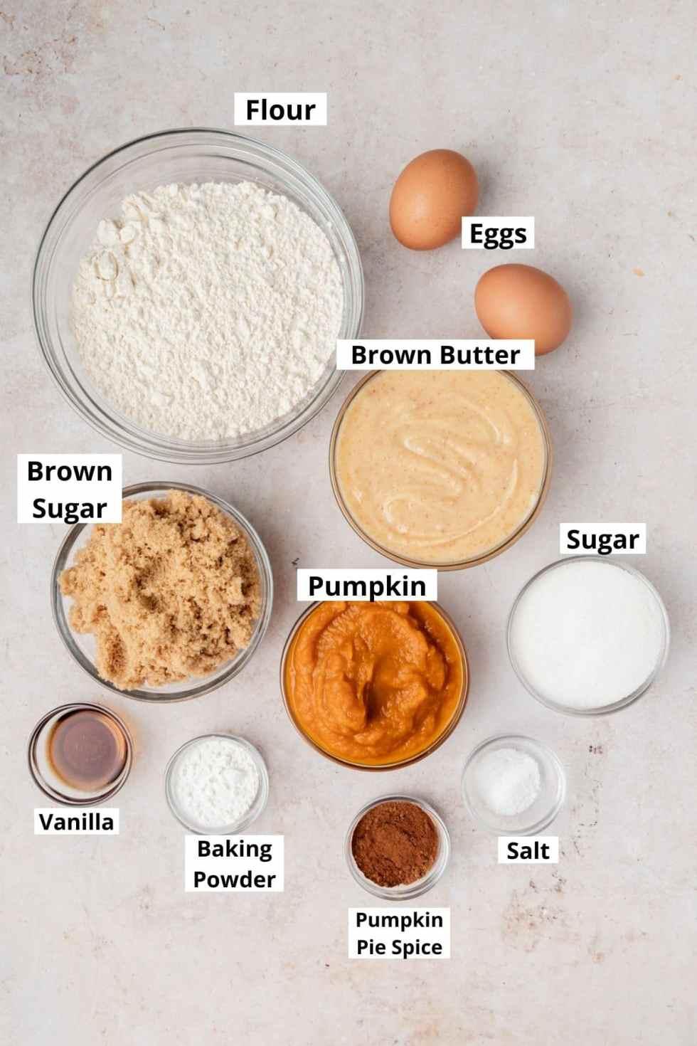 labeled shot of pumpkin cupcake ingredients