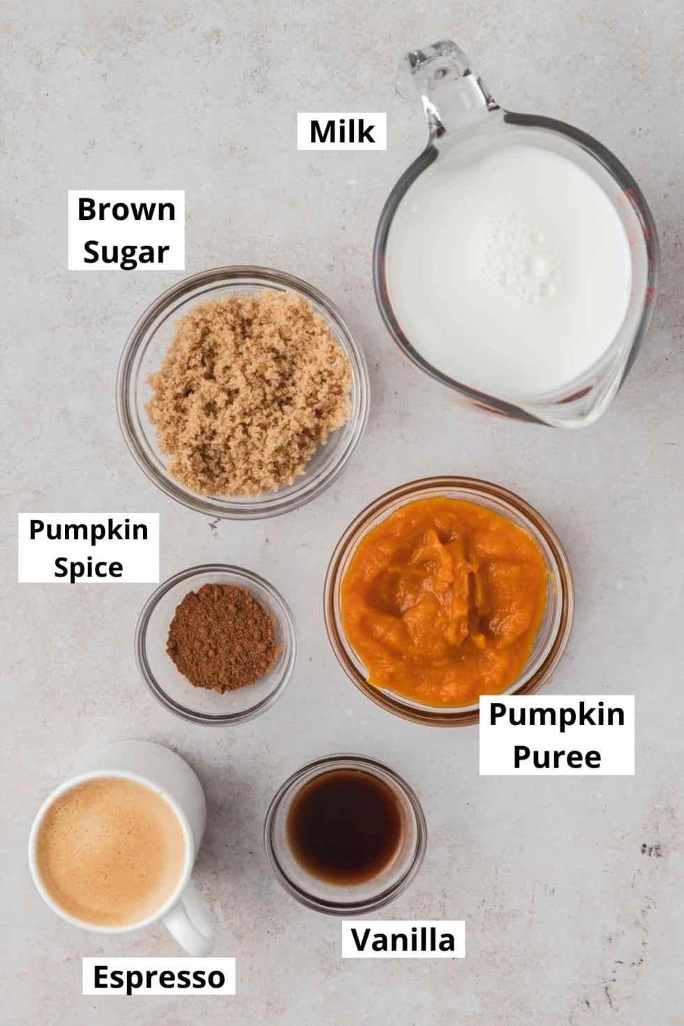 labeled shot of pumpkin spice latte ingredients