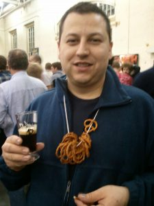 Ceetar with his Pretzel Necklace and a small beer