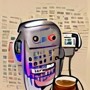 VQGAN+CLIP of Botty. weird rounded chrome robot shape listening on a phone and with a beer in front of it