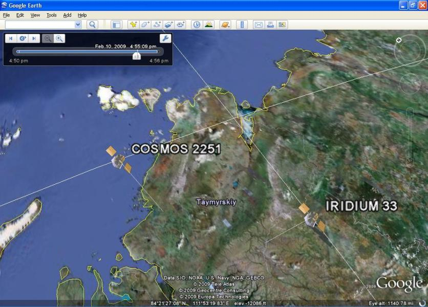 Google Earth VisualizationWhen two satellites collide  in Google Earth Satellites Colliding in Google Earth