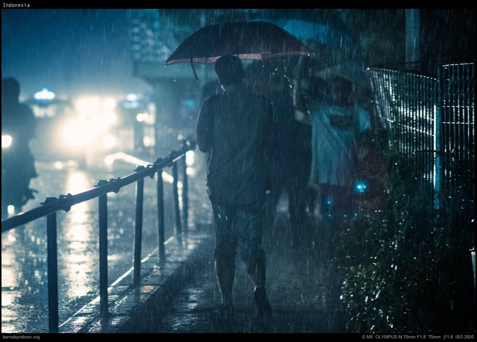 night rain in the city