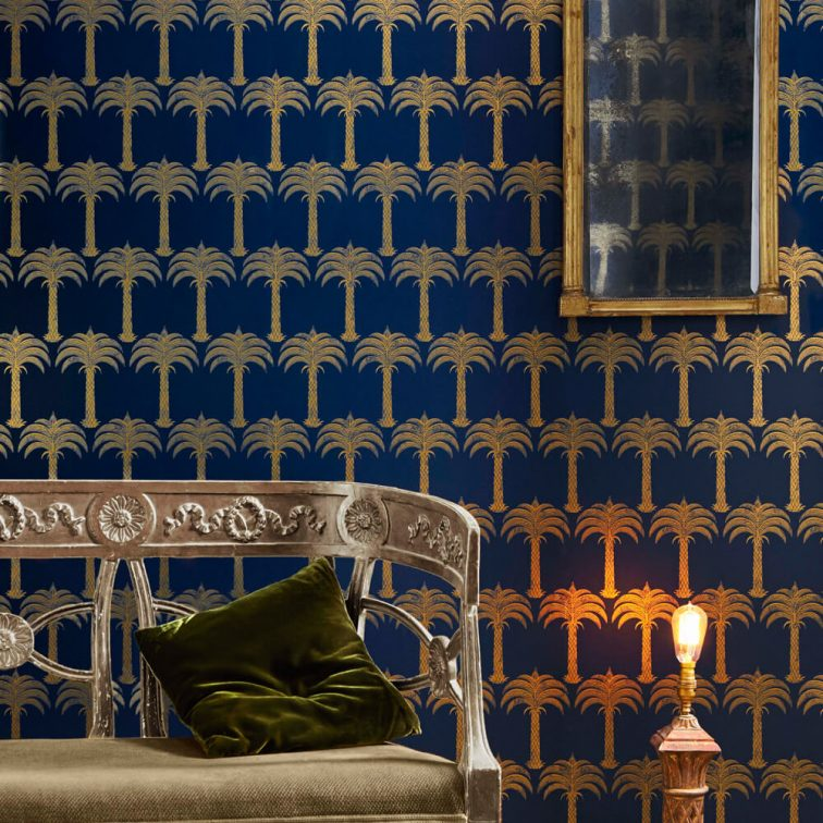 'Marrakech Palm' wallpaper in Midnight Blue by Barneby Gates
