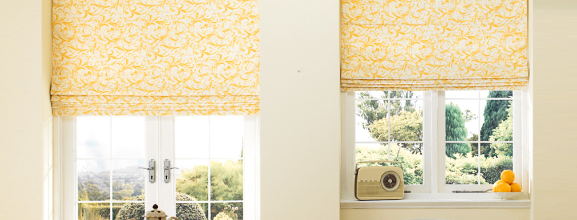 Pattern roman blinds from Barnes Blinds in Stoke-on-Trent