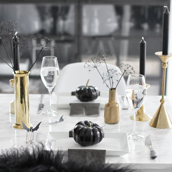 halloween decor - black and gold candles