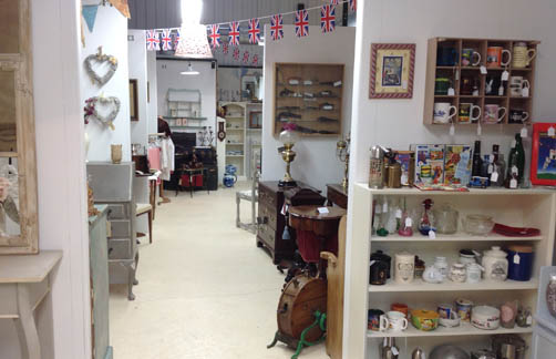 inside antiques show room