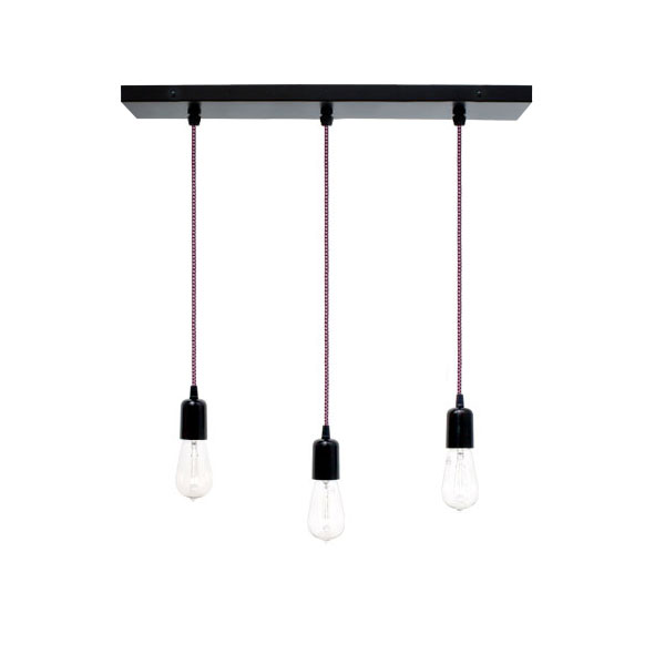 3 Light Pendant Chandelier 100 Black Csbp Pink Cloth