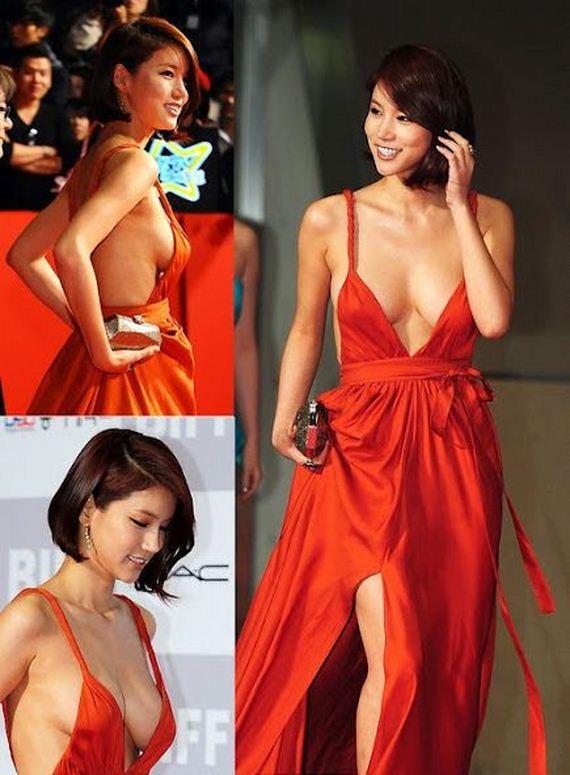Korean Actress Oh In Hye Wearing Sexy Orange Dress | Imron ...