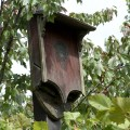 three chambered bat house hand crafted from barn wood