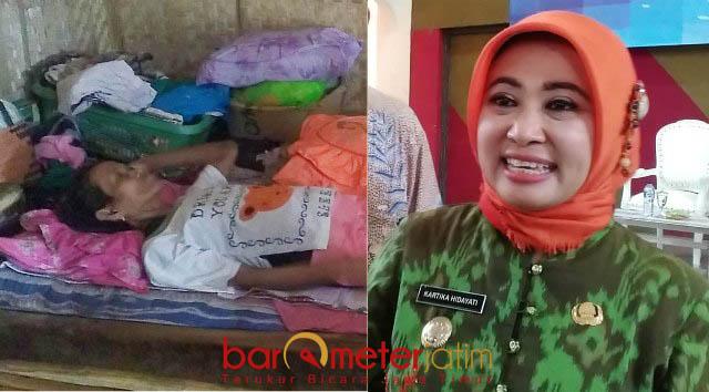 TANGGUNG JAWAB PEMKAB: Wabup Lamongan, Kartika Hidayati (kanan), kondisi Kasminah yang lumpuh dan sebatang kara menjadi tanggung jawab Pemkab. | Foto: Barometerjatim.com/HAMIM ANWAR