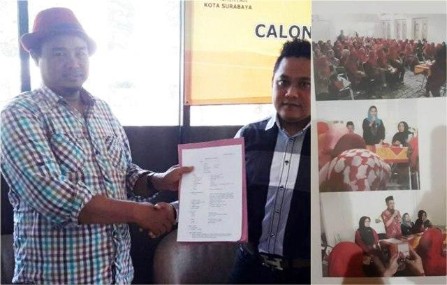 DUGAAN PELANGGARAN PILKADA: Ali Azhara (foto kiri) melaporkan Ketua DPRD Surabaya, Armuji dan foto-fotbukti kegiatan di rumah dinas (foto kanan). | Foto: Ist