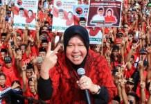 RISMA AGAK STRES: Tri Rismaharini saat menjadi juru kampanye Gus Ipul-Puti. Kekalahan paslon yang didukungnya membuat Risma stres. | Foto: IST