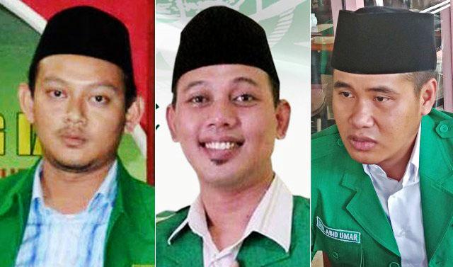 SAHABAT DAN ADIK KANDUNG: Gus Aam (tengah) di antara Gus Abid (kanan) dan Gus Syafiq, dua kandidat terkuat ketua Ansor Jatim.   Foto: IST