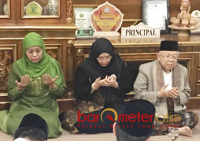 SINYAL KHOFIFAH CAPRES: KH Ma'ruf Amin bersilaturahim ke Pondok Pesanren Amanatul Ummah, Pacet, Mojokerto asuhan KH Asep Saifuddin Chalim, Rabu (29/9).   Foto: Barometerjatim.com/MARIJAN AP