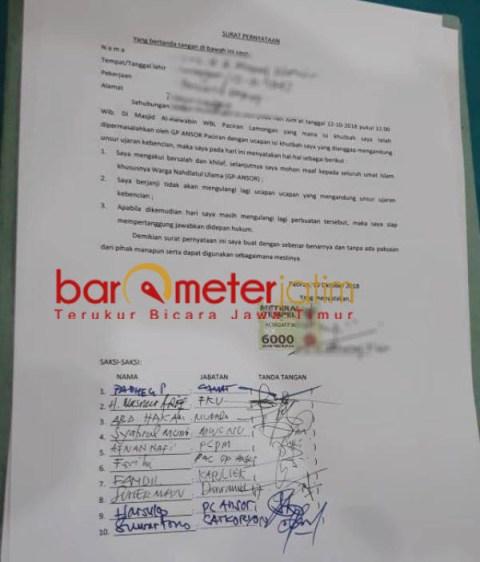 SELESAI: Surat pernyataan permintaan maaf yang ditandatangani Ustadz MN terkait khotbah shalat Jumat yang dinilai provokatif.   Foto: Barometerjatim.com/HAMIM ANWAR