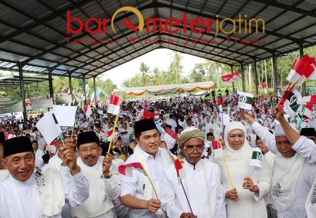Arum Sabil (kiri) bergerak bersama JKSN untuk pemenangan Jokowi-Ma'ruf Amin. | Foto: Barometerjatim.com/roy hs