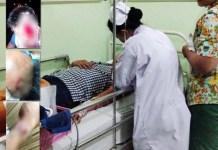 Rudy Wibowo saat dirawat di RS Adi Husada. Inset: Luka serius diduga akibat penganiayaan. | Foto: Ist