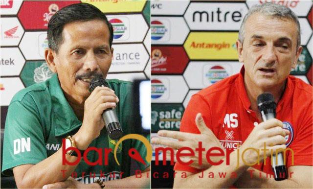 Djajang Nurjaman (kiri) dan Milo Sisilija, kecewa dengan hasil 2-2. | Foto: Barometerjatim.com/dani iqbaal