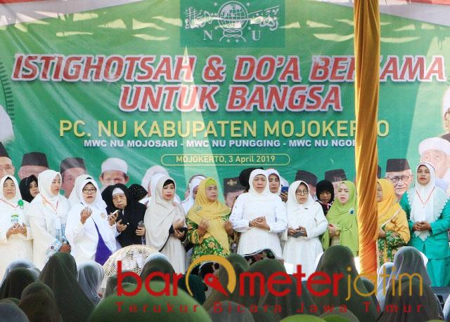 Khofifah di acara PCNU Kabupaten Mojokerto, Rabu (3/4/2019).   Foto: Barometerjatim.com/retna mahya