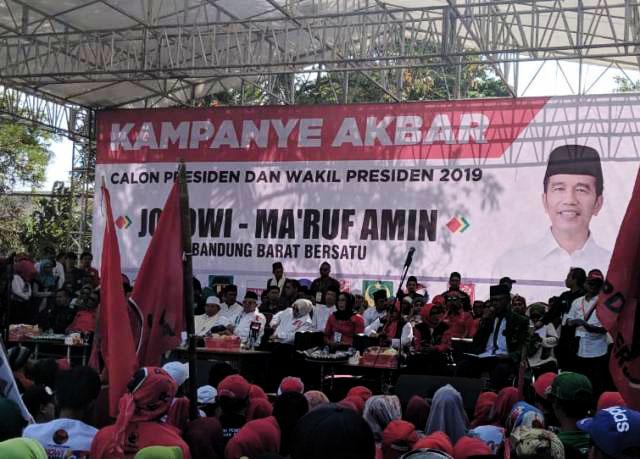 Ma'ruf Amin kampanye terbuka di Padalarang, Kabupaten Bandung Barat, Selasa (9/4/2019).   Foto: Ist