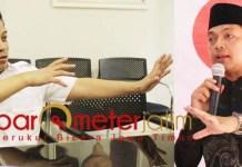 Gus Hans (kanan) dan Soepriyatno, sudah untung Prabowo dapat 34,3 persen di Jatim. | Foto: Barometerjatim.com/roy hs
