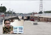 Pengerjaan Underpass Karanglo. Inset: Gatot Sulistio Hadi. | Foto: Barometerjatim.com/abdillah/Ist