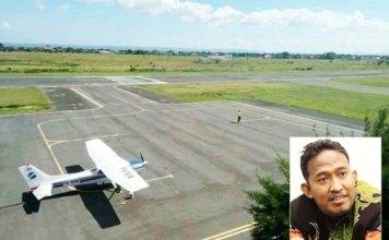 SIAPKAN HANGGAR: Wabup Achmad Fauzi (inset) akan bangun hanggar di Bandara Trunojoyo. | Foto: Barometerjatim.com/ROY HS