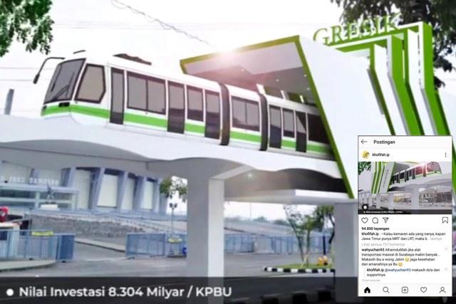 BERKEMAJUAN: Desin MRT-LRT yang digagas Khofifah dipamerkan lewat Instagram. | Foto: Akun IG Khofifah