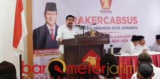 PAPARKAN VIVI-MISI: Machfud Arifin di Rakercabsus Partai Gerindra Surabaya.   Foto: Barometerjatim.com/ROY HS