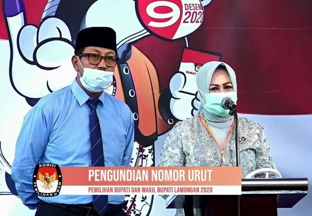 FIRASAT KERMENANGAN: Pasangan Suhandoyo-Astiti Suwarni mendapat nomor urut satu di Pilbup Lamongan.   Foto: Barometerjatim.com/ROY HS