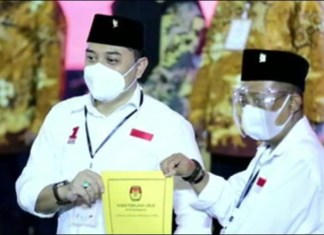 PENETAPAN: Eri Cahyadi-Armuji, ditetapkan KPU Surabaya sebagai wali kota dan wakil wali kota Surabaya. | Foto: IST