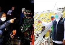 ADU CEPAT: Mensos Tri Rismaharini (kiri) dan Gubernur Khofifah mengunjungi korban gempa Malang. | Foto: IST