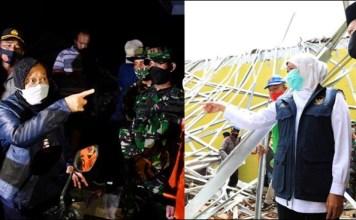 ADU CEPAT: Mensos Tri Rismaharini (kiri) dan Gubernur Khofifah mengunjungi korban gempa Malang.   Foto: IST