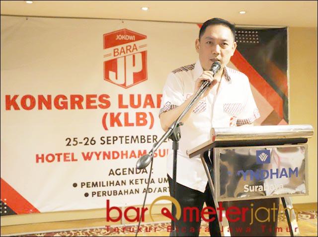TAK INGIN TERPECAH: Ketum Bara JP hasil KLB Surabaya, Gianto Wijaya tak ingin Bara JP terpecah.   Foto: Barometerjatim.com/ROY HS