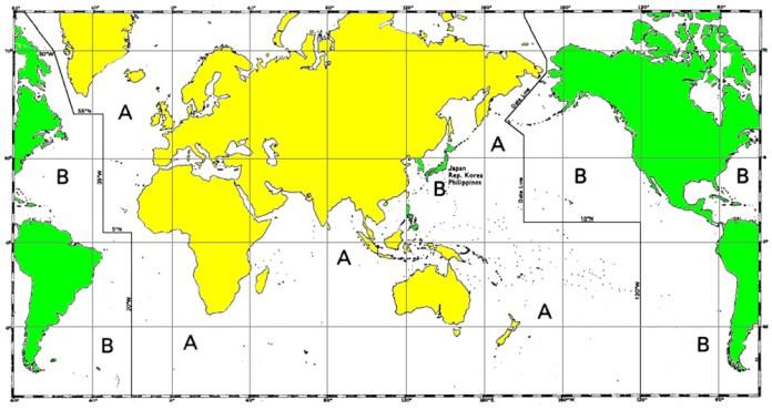 Distribución mundial de los sistema A y B de la norma IALA
